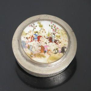 Vtg Mother of Pearl Painted Trinket Box Horseback